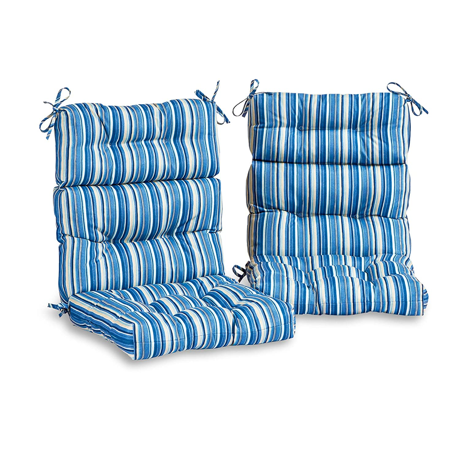 South Pine Porch AM6809S2-SAPPHIRE Outdoor High Back Chair Cushion, Set of 2, Sapphire Stripe
