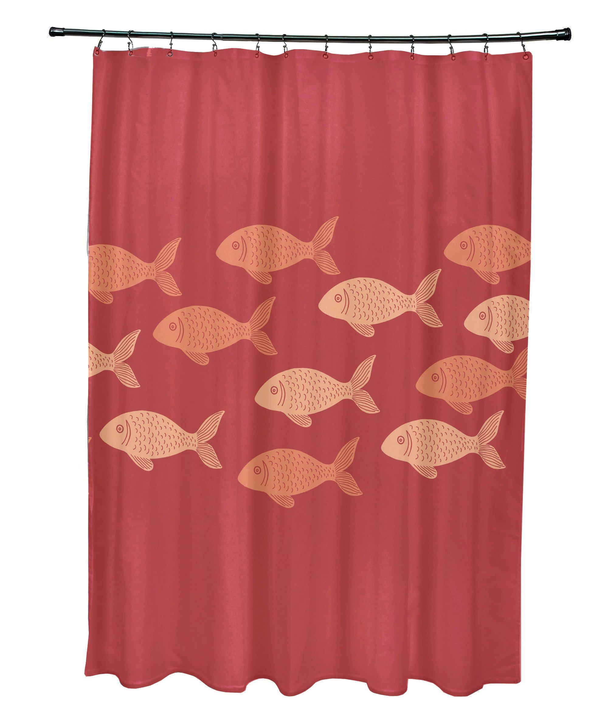 E by design 71 x 74'', Fish Line, Animal Print Shower Curtain, Coral