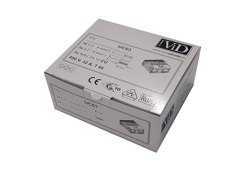 ViD bornes de connexion avec levier UC 3 p/ôles 50 pi/èce