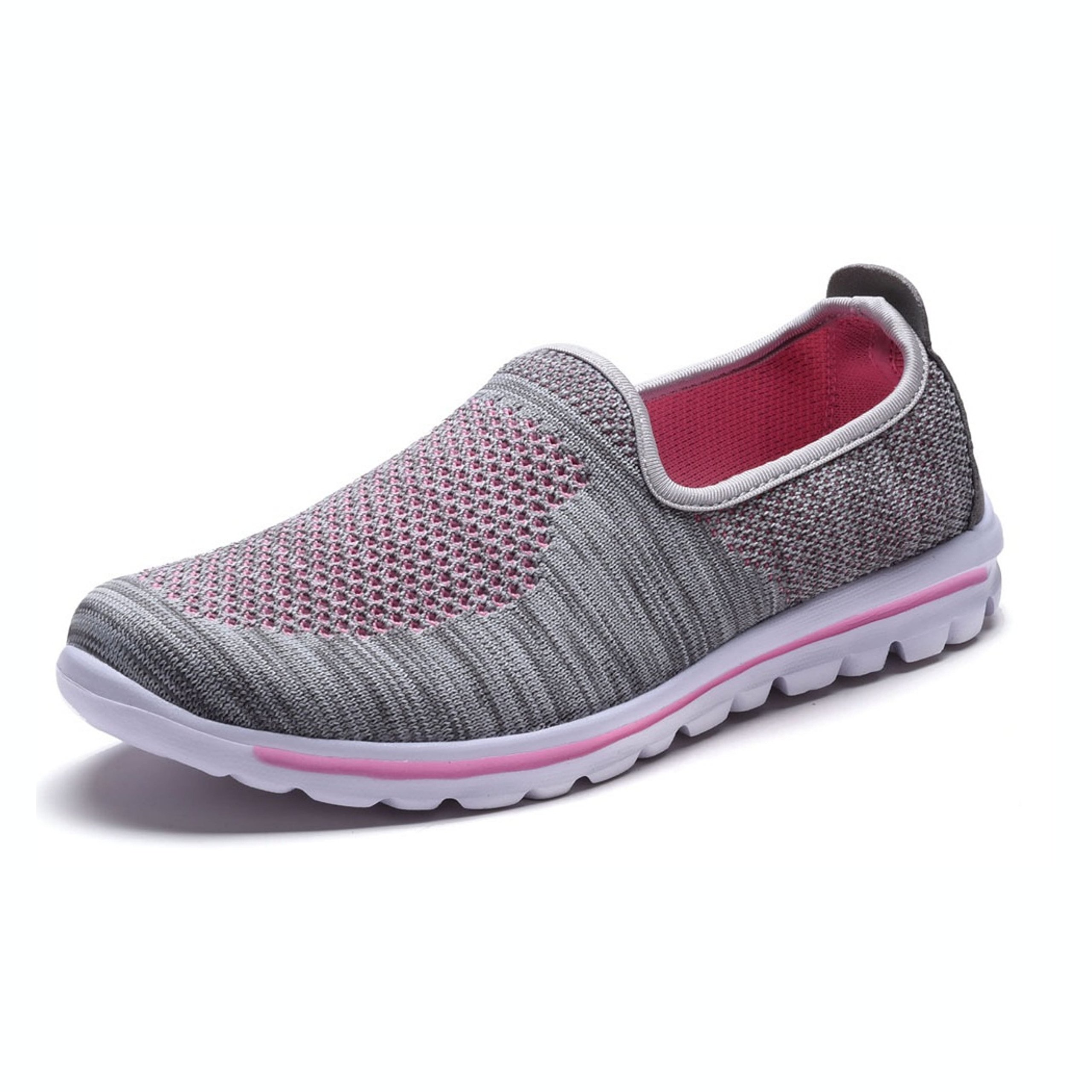 DailyShoes Women's Fit Mesh Slip-on Style Walking Shoes with Memory Foam Insoles- Breathable Mesh - Durable Soles - Reliable Traction - Perfect for Walks and Jogs, Gray Pink Mesh, 5 B(M) US