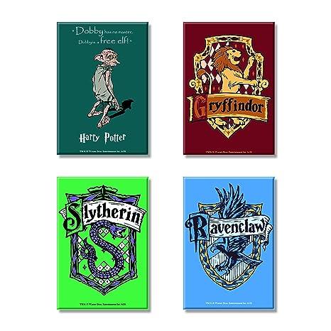 Mc Sid Razz Harry Potter Combo Pack Of 4 Rectangular Fridge Magnet Dobby Gryffindor