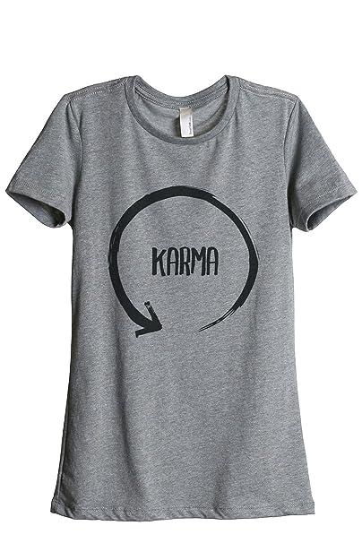 Thread Tank Depósito de rosca Karma Ciclo de la mujer relajado camiseta de manga corta Heather