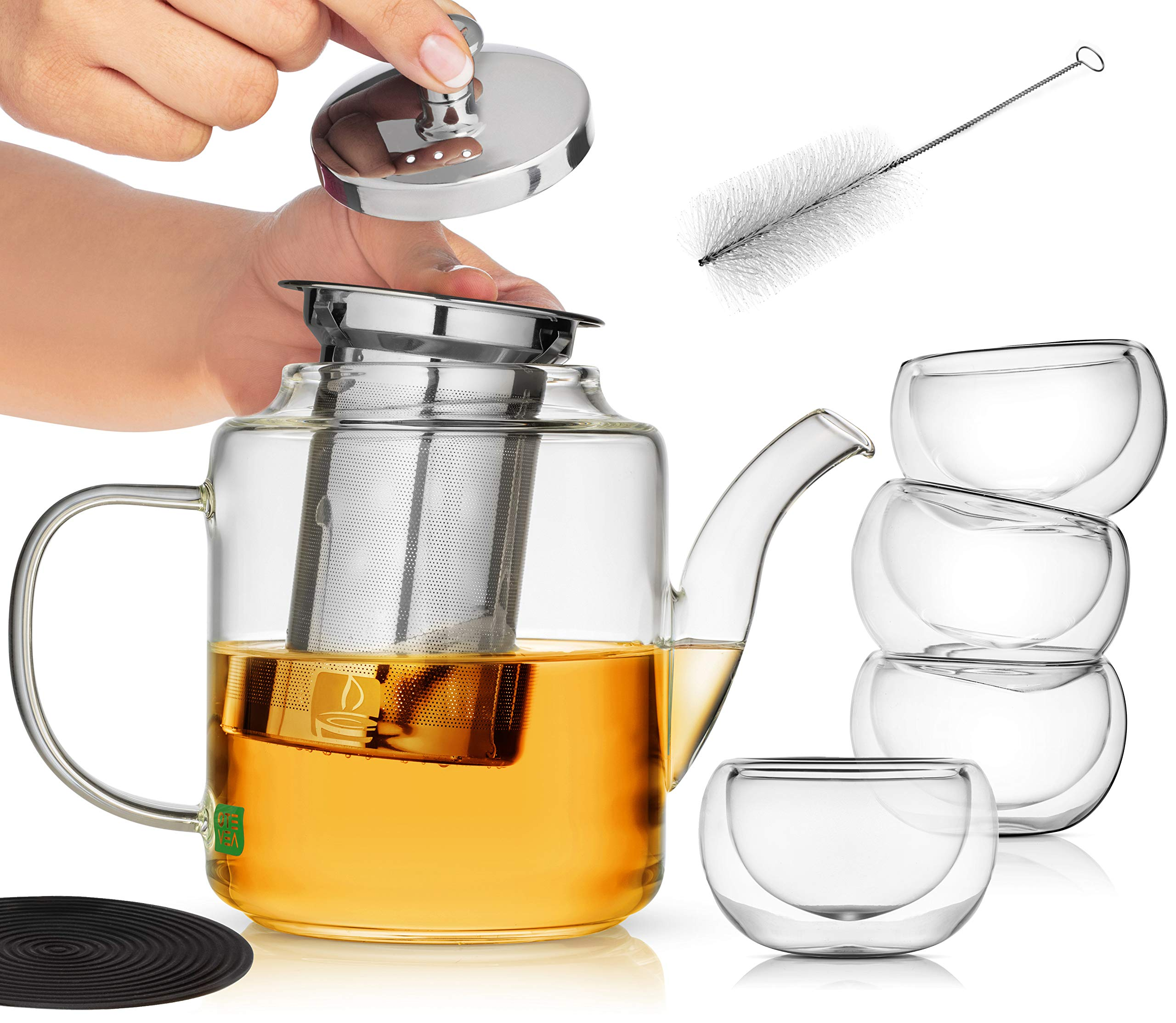 Glass Teapot Set with Infuser for Loose Tea | Stove Top Safe Borosilicate Clear Glass Tea Pot with 4 Small Tea Cups, Silicone Trivet, Cleaning Brush | the Perfect Tea Set for Gift or Entertaining