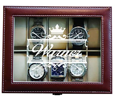 Engraved Custom Brown Watch Storage Case Box Groomsmen Father S Day Gift Crown Style