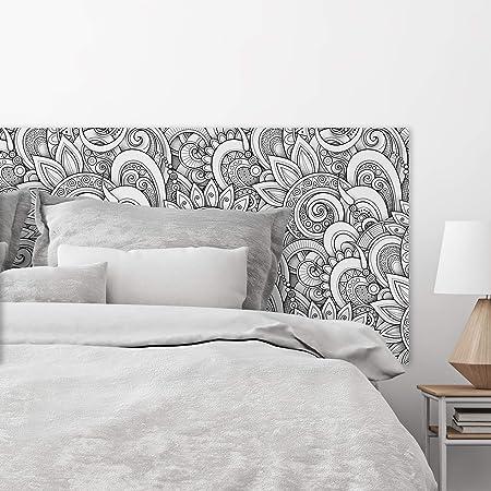 MEGADECOR Cabecero Cama PVC Decorativo Económico Mandala Blanco y Negro 3D Medidas (150 cm x 60 cm)