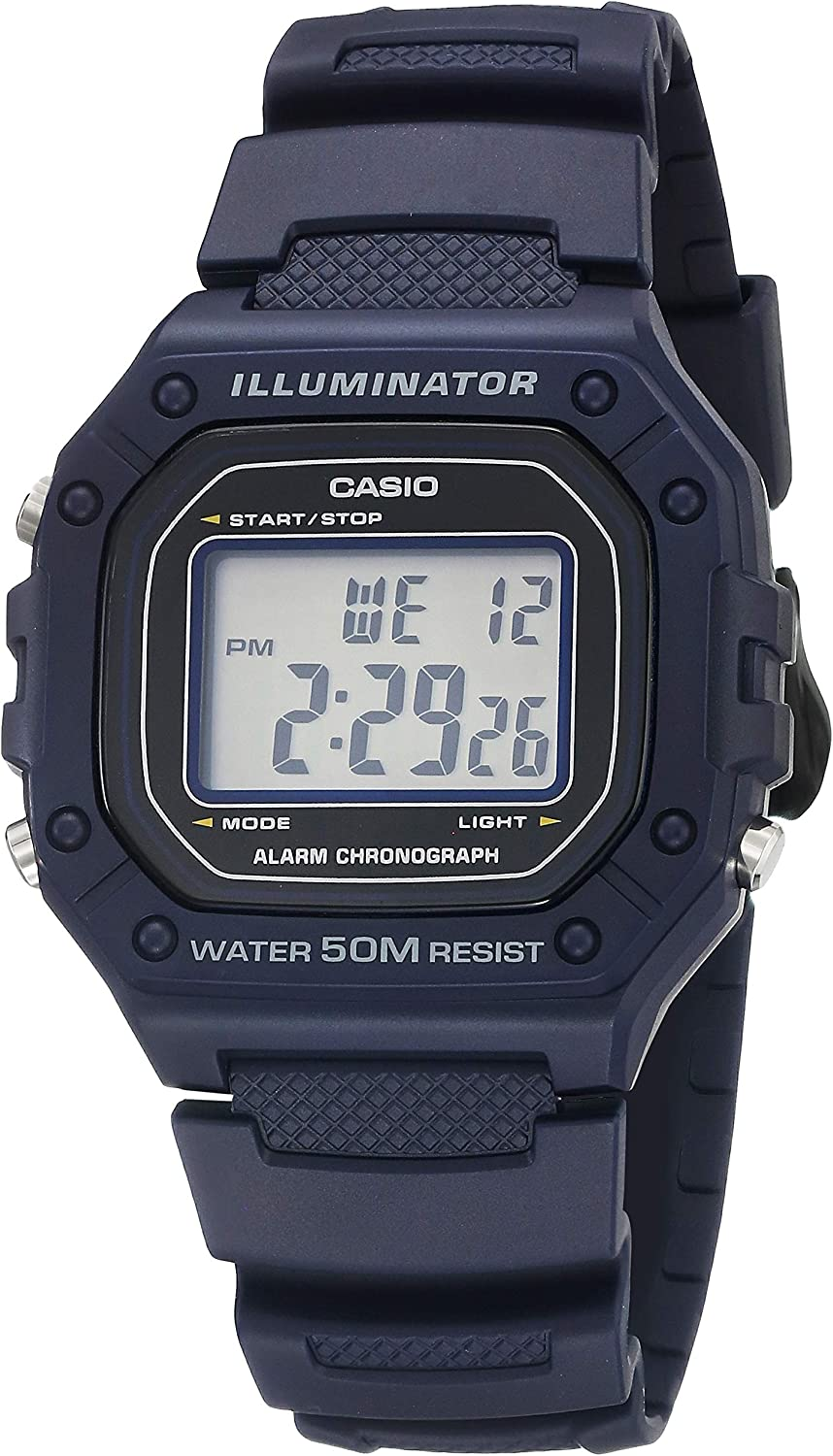 Casio Men's Classic Stainless Steel Quartz Watch with Resin Strap, Blue, 21.1 (Model: W-218H-2AVCF