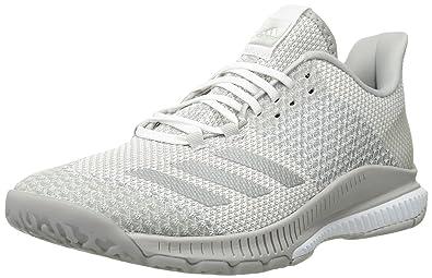 best service d3287 03d57 adidas Women s Crazyflight Bounce 2 Volleyball Shoe, White Silver  Metallic Grey, 14