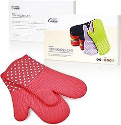 Lumaland Cuisine Silikon Handschuhe Hitzehandschuhe Grillhandschuhe ca. 33 x 19 cm hitzebeständig bis 300° C rotorange