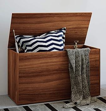 Holz 120/x 48/x 50/cm Pieffe Mobili Sitzbank-Truhe Walnuss mit Leder-Effekt