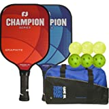 2 Champion Pickleball Paddles with 6 Pickleballs and Duffle Bag