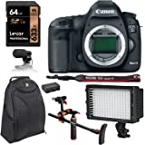 Canon 5D Mark III 22.3MP Full Frame CMOS 1080p HD Video Mode Digital SLR Camera Body, Polaroid Chest Stabilizer, Lexar 64GB SDXC, LED Lighting, Condenser Microphone, Polaroid Battery & Accessory Kit
