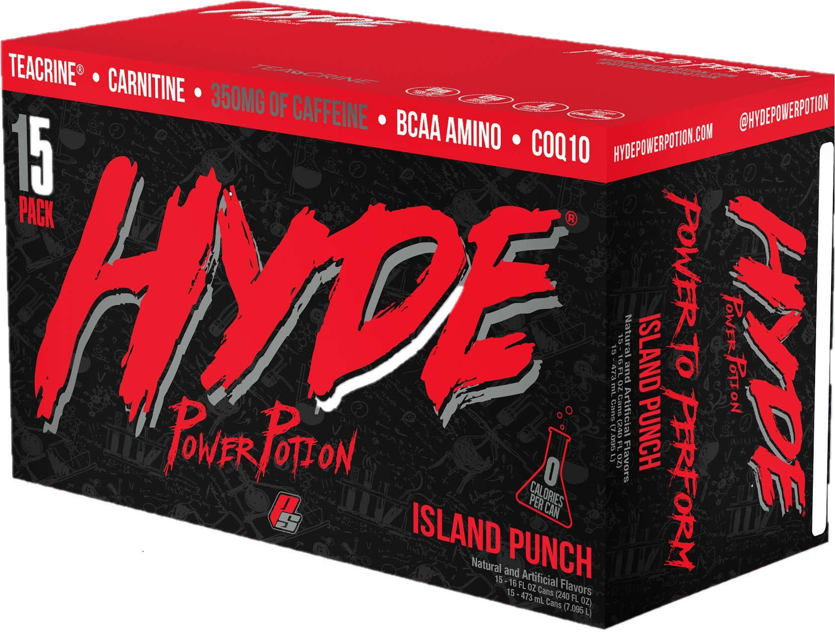 ProSupps Hyde Power Potion Energy Drink, 350 mg Caffeine, Zero Sugar, Zero Carbs, Carbonated 16 oz, 15-Count Box (Island Punch Flavor)