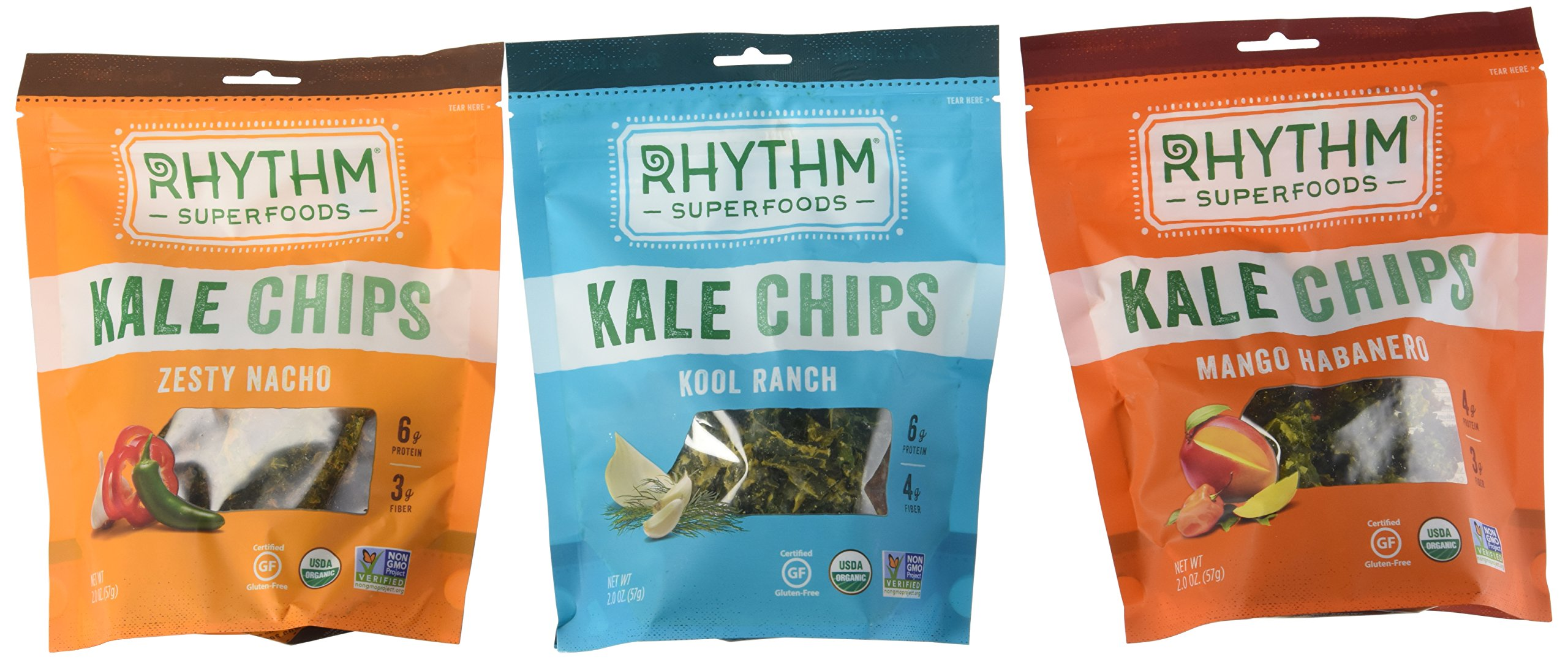 Rhythm Superfoods Kale Chips Variety Pack - Kool Ranch, Mango Habanero, Zesty Nacho by Rythym Superfoods