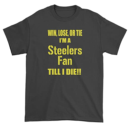 Expression Tees Mens Win Lose Or Tie Steelers Fan T-Shirt Medium Black 4edc11450