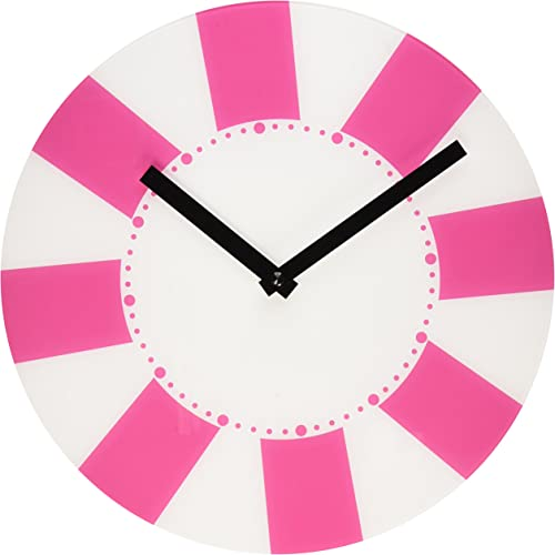 Refelx Non-Ticking Silent Acrylic Wall Clock, Large, Summer Tube, Pink