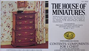 """House of Miniatures Wood Chippendale Chest on Chest w Hardware & Accessories - Unassembled 1"""" to 1' Scale (1977)"""