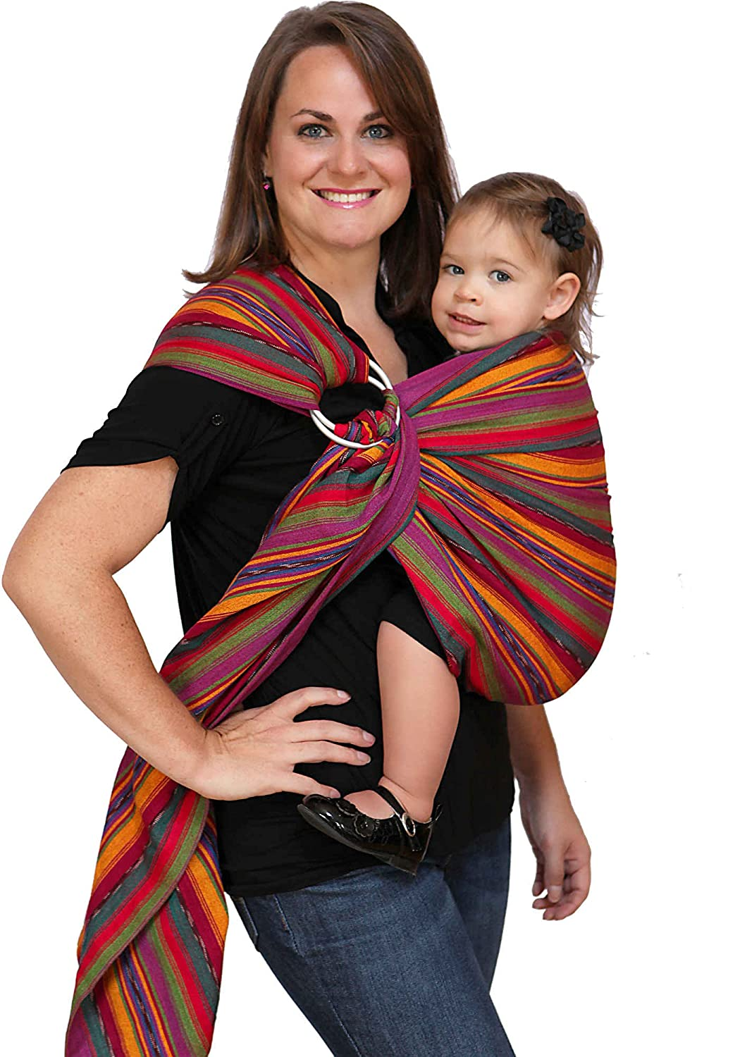 Maya Wrap Lightly Padded Ring Sling Baby Carrier – Bright Stripes – Medium