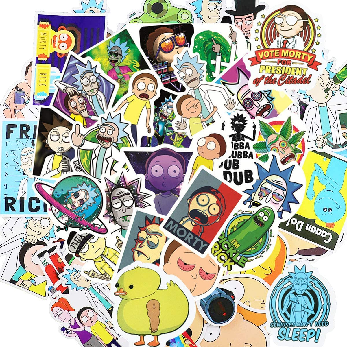 BATTER 100PCS Rick and Morty Stickes Laptop Sticker Waterproof Vinyl Stickers Car Sticker Motorcycle Bicycle Luggage Decal Graffiti Patches Skateboard Water Bottle Sticker