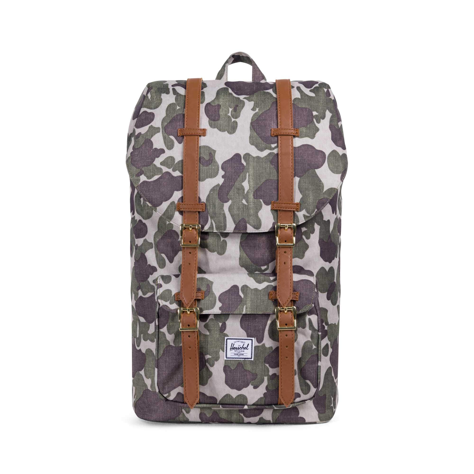 Herschel Supply Co. Little America Flapover Backpack, Frog Camo/Tan Synthetic Leather, Classic 25L by Herschel