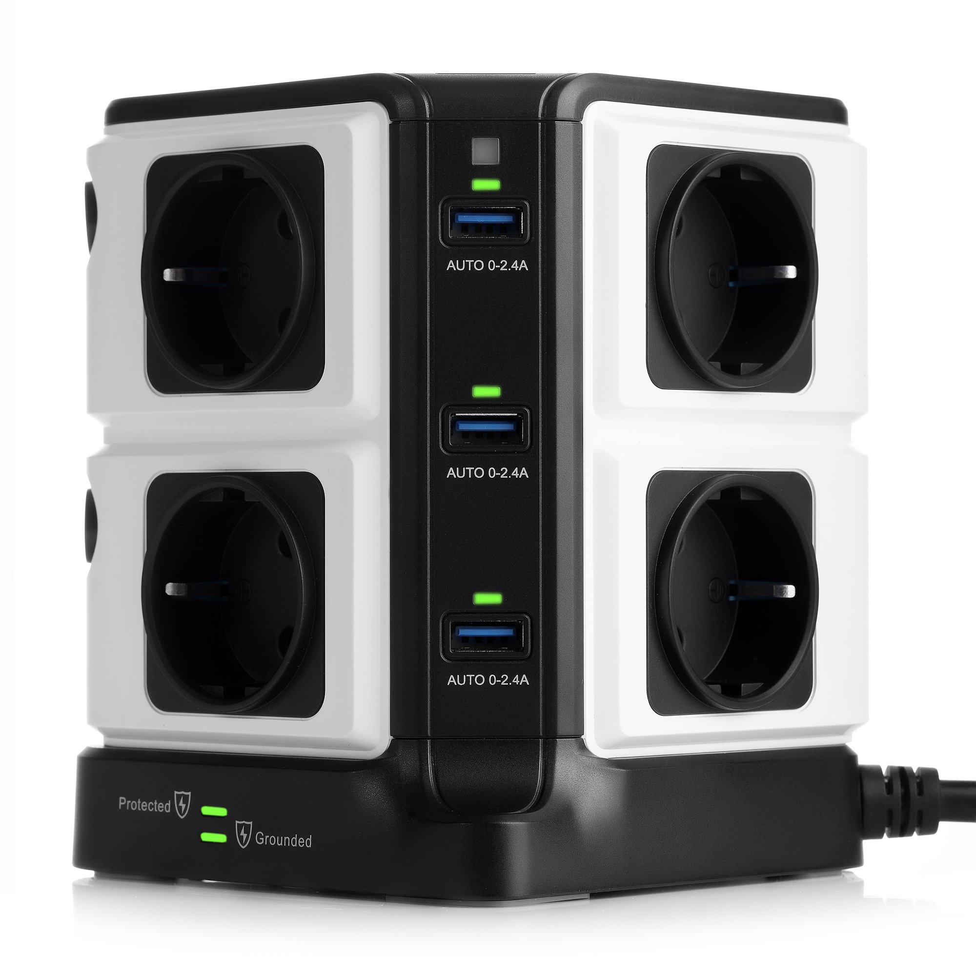 BESTEK Regleta Enchufe Vertical de 8 Tomas y 6 Puertos de USB, Regleta de 1500J Surge Protección, Regleta de 3600W/16A product image