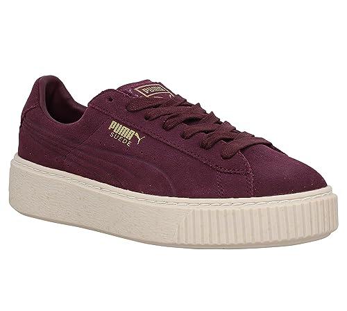 Zapatillas Puma de ante con plataforma, diseño con puntos burdeos, (granate), Fr 40: Amazon.es: Zapatos y complementos