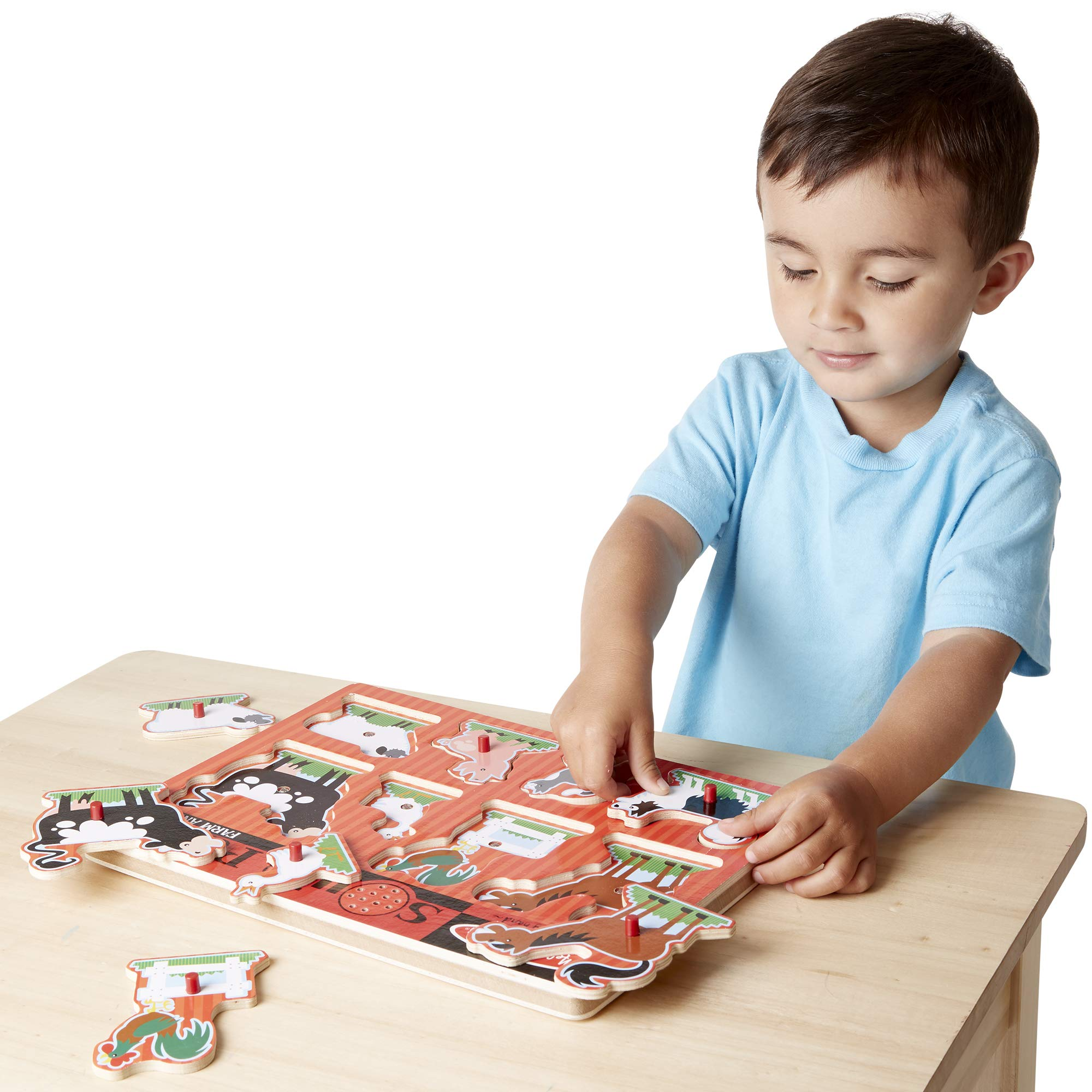 Melissa & Doug Farm Animals Sound Puzzle - Wooden Peg Puzzle With Sound Effects (8 pcs) by Melissa & Doug (Image #2)