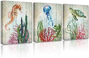 Ocean Wall Art Bathroom Decor - Sea Turtle Fish Coral Grey Framed Canvas Painting Modern Home Decoration Living Room Kids Bedroom Print Coastal Seahorse Nature Aqutic Animal Artwork 3 Piece Set