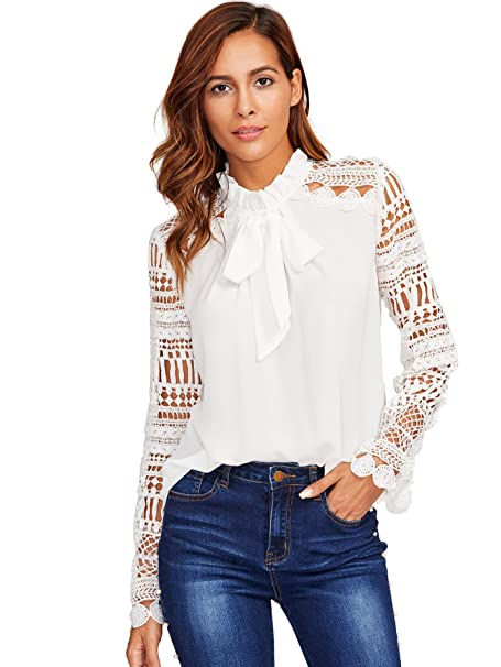 f2e719e7aee Floerns Women s Long Sleeve Bow Tie Ruffle Collar Lace Chiffon Blouse White  XS