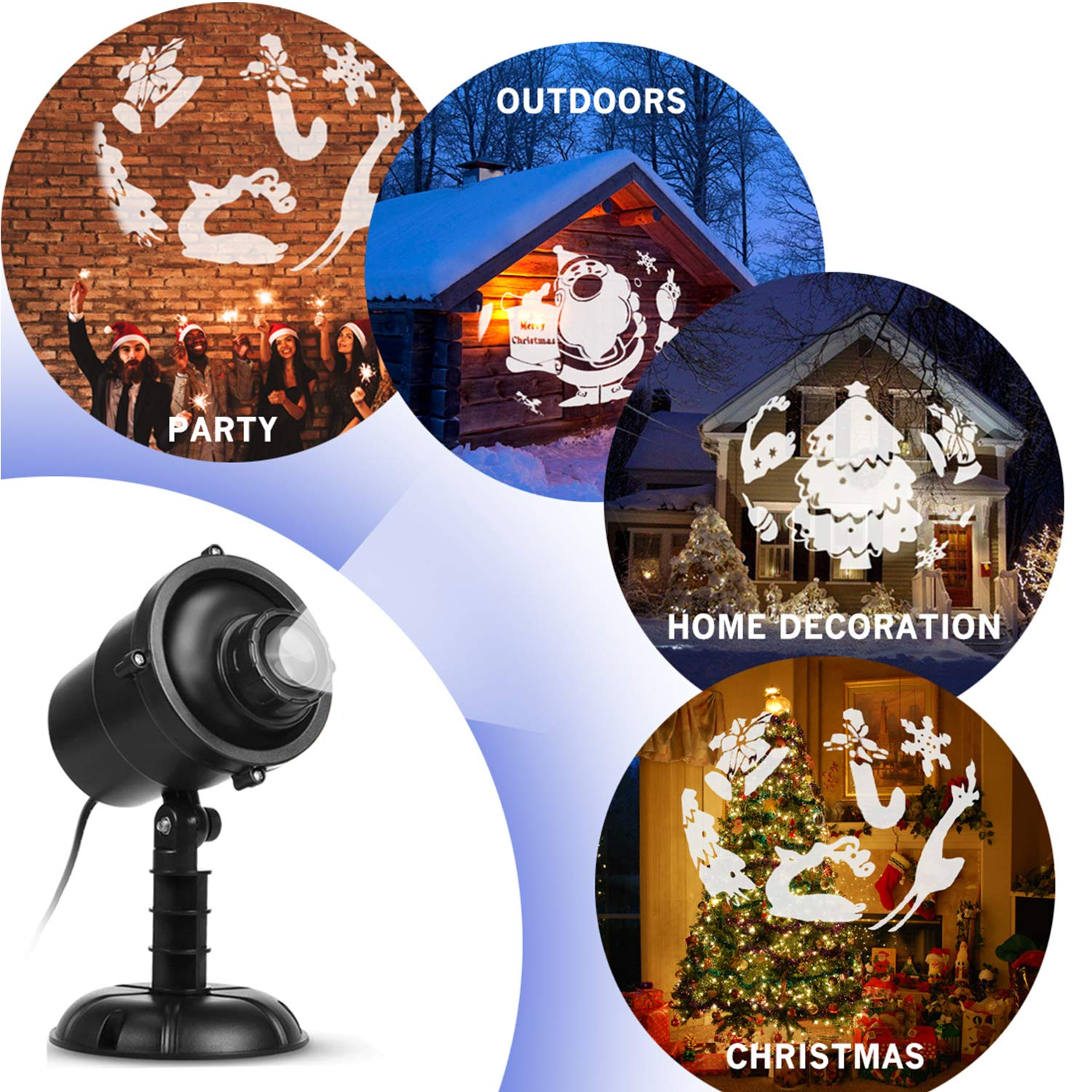 Christmas Led Projector Lights 3d Rotating Effect Decorations With Garden Timer Remote Control And Landscape Waterproof Ip65 Perfect For