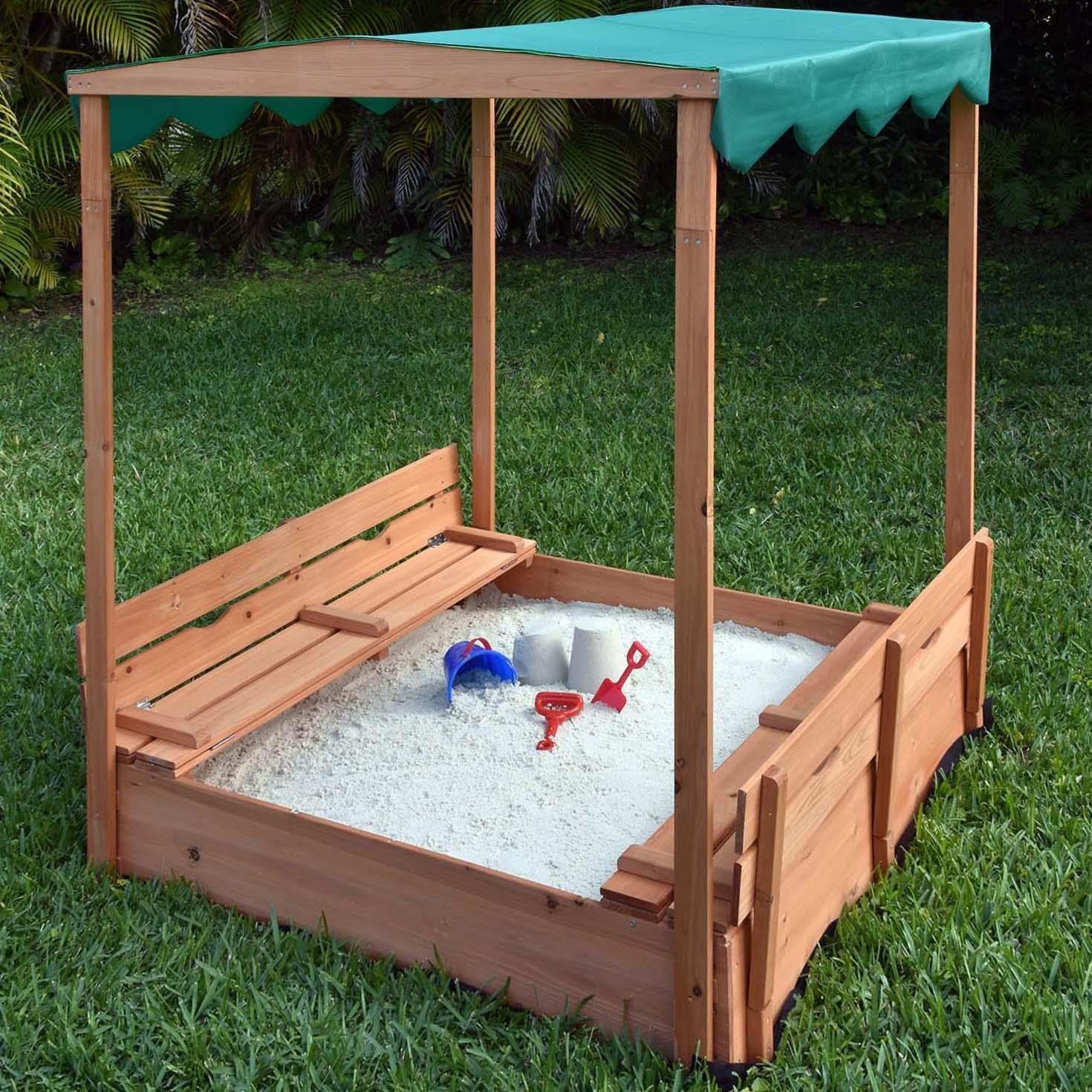 Naomi Home Kids Canopy Cedar Sandbox with Benches by Naomi Home (Image #3)