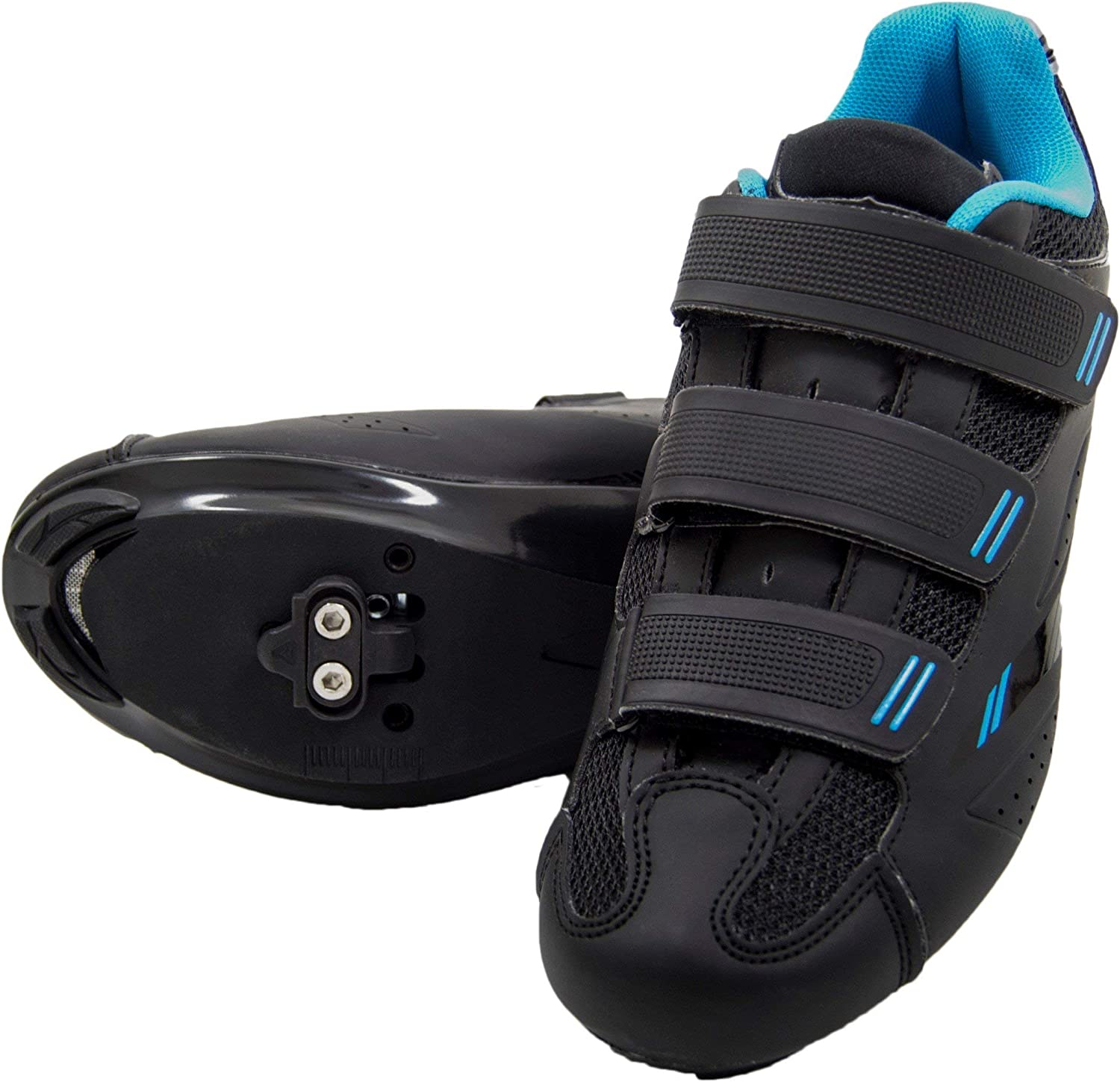 SPD Look Delta Pink Blue Tommaso Pista Womens Spin Class Ready Cycling Shoe Bundle with Compatible Cleat White Black