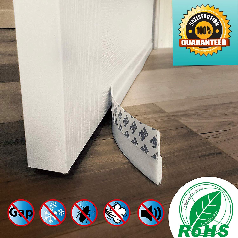 Self Adhesive Foam,White Window Seal Strip Soundproof Door Bottom Weather Stripping Door Sweep Strip Under Door Draft Blocker Door Draft Stopper Under Door Seal for Exterior//Interior Doors