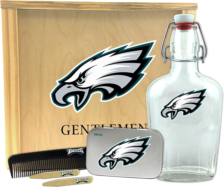 10 x 9 x 3.75 Worthy Promo NFL Philadelphia Eagles Gentlemens Gift Box-Toiletry Edition 1-250 ml Glass Swing-Top Bottle