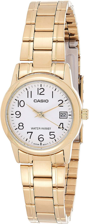 Casio #LTP-V002G-7B2 Women's Analog Gold Tone White Easy Reader Dial Date Watch