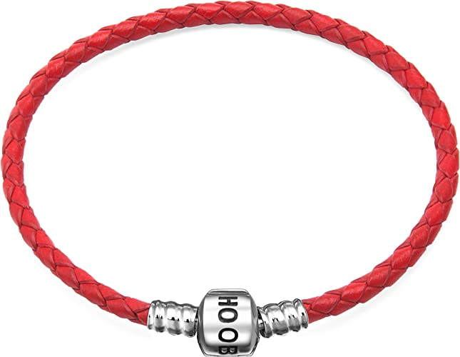 Leather Bracelet Girl Woman with Silver Charm 19 cm Red