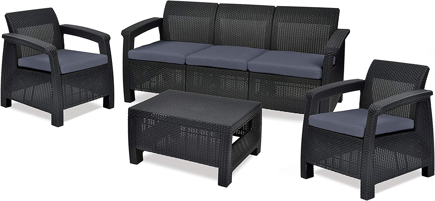 Keter Corfu Outdoor 9 Seater Rattan Sofa Furniture Set with Accent Table,  Graphite with Grey