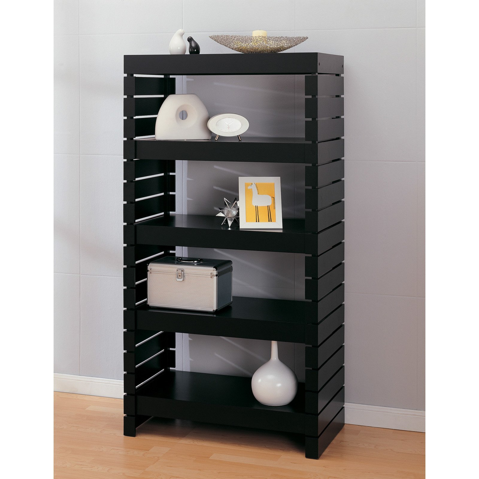 Bookcase (39655-1) 4 Tier Black Modern Bookshelves Constructed of Strong Engineered Wood Material - 32L x 17W x 60.25H in. Assembly Required
