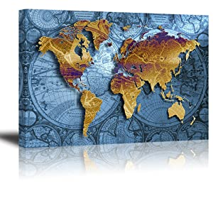 "World Map Wall Art for Living Room, PIY Old Nautical Canvas Prints Decor, Retro Painting Home Decorations (Large, 1"" Thick Frame, Waterproof Artwork, Bracket Mounted Ready to Hang)"