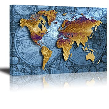 Amazon world map wall art for bedroom piy hd old nautical world map wall art for bedroom piy hd old nautical canvas prints decor retro gumiabroncs Choice Image