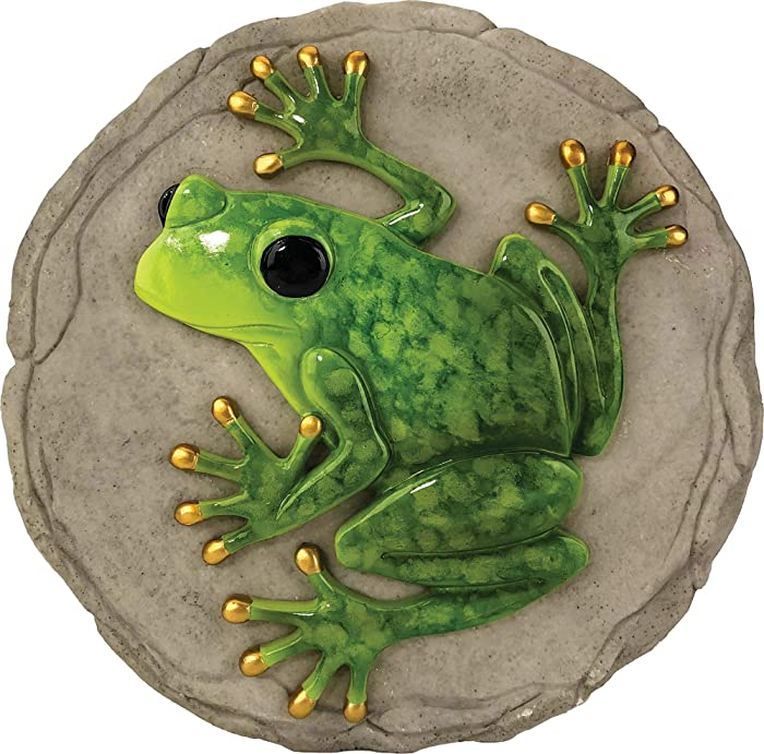 Spoontiques 13329 Raised Frog Stepping Stone, Green