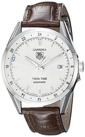409ea66ac734 Image Unavailable. Image not available for. Color  TAG Heuer Men s  WV2116.FC6181 Carerra Calibre 7 Twin Time Automatic White Dial Brown  Crocodile