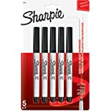 Sharpie Permanent Markers, Ultra Fine Point, Black, 5 Count