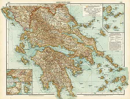 Theprintscollector Antique Map Greece Hellas Athens Naxos Europe