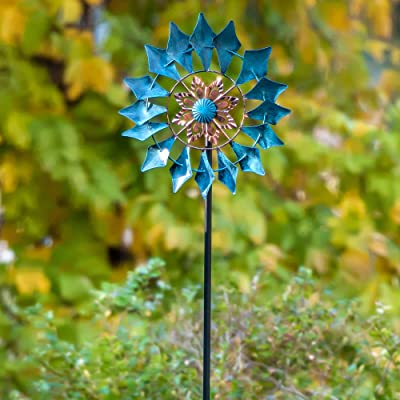 SteadyDoggie Wind Spinner Emerald 61in Single Blade Easy Spinning Kinetic Wind Spinner for Outside – Vertical Metal Sculpture Stake Construction for Outdoor Yard Lawn & Garden : Garden & Outdoor