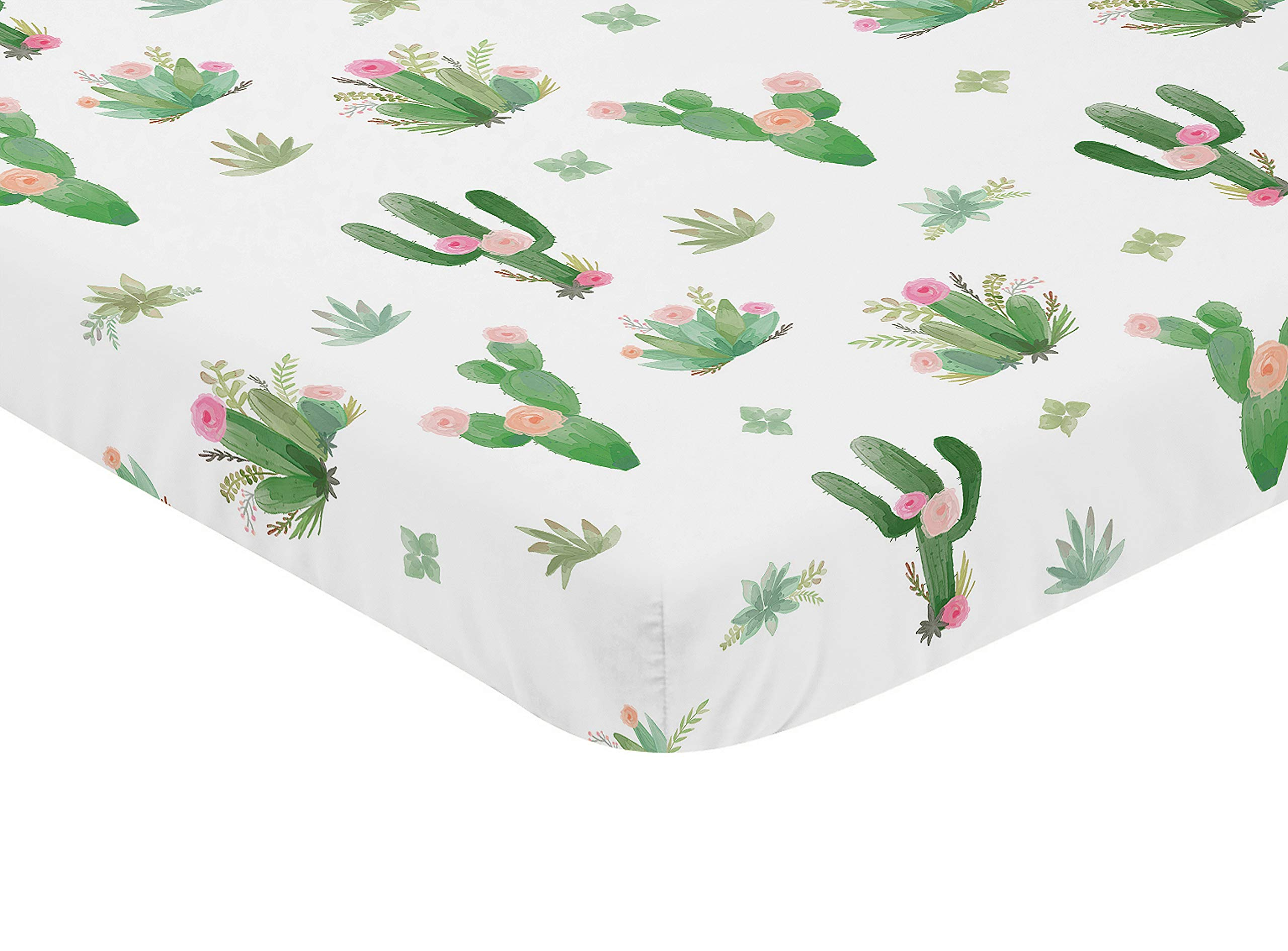 Sweet JoJo Designs Pink and Green Boho Watercolor Baby Fitted Mini Portable Crib Sheet for Cactus Floral Collection