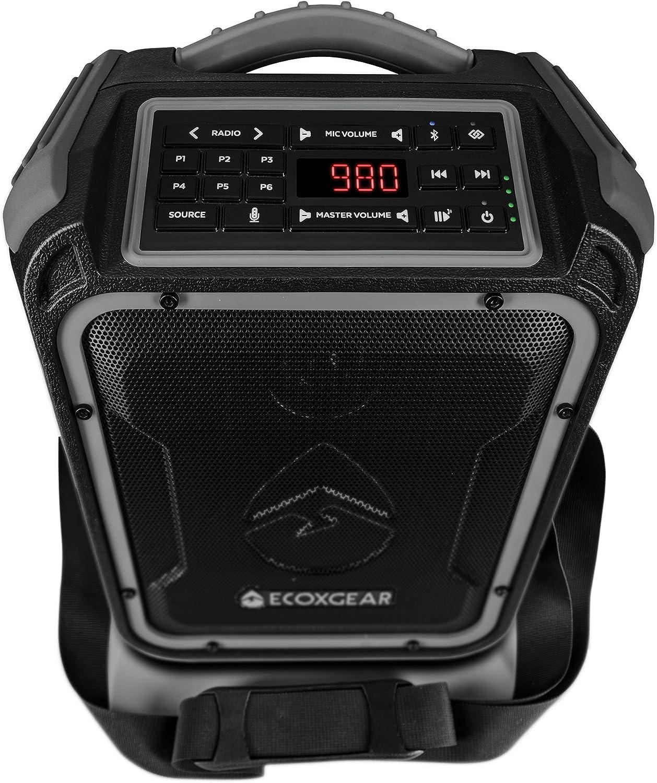 ECOXGEAR EcoXplorer GDI-EXPLR110 Rugged Waterproof Floating Portable Bluetooth AM/FM Wireless 50 Watt Speaker with Carry Strap (Gray)