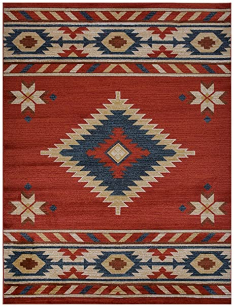Nevita Collection Southwestern Native American Design Area Rug Southwest Rugs Geometric South West Pattern
