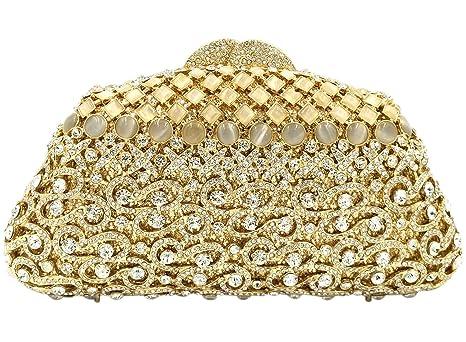 Partido Bolso Mujer Noche Bolsas Nupcial Carteras Brillo Mano Cristales Cadena Embrague Dorado