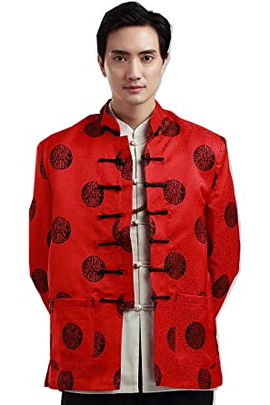 f17de0dae7b Shanghai Story Satin Brocade Men's Chinese Jacket Chinese Tunic Suit Red M