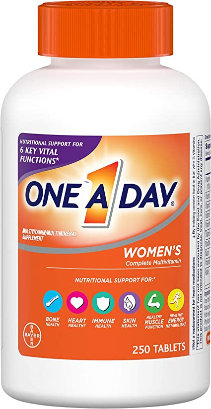 Amazon Com One A Day Women S Multivitamin Supplement With Vitamin A Vitamin C Vitamin D Vitamin E And Zinc For Immune Health Support B12 Biotin Calcium More 250 Count Health Personal